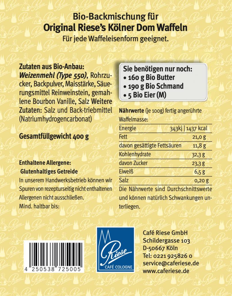 Etikett Rückseite Bio Backmischung Waffeln
